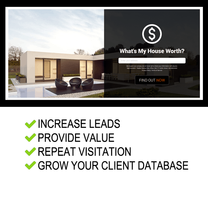 Tools for realtors to generate leads in their real estate website.