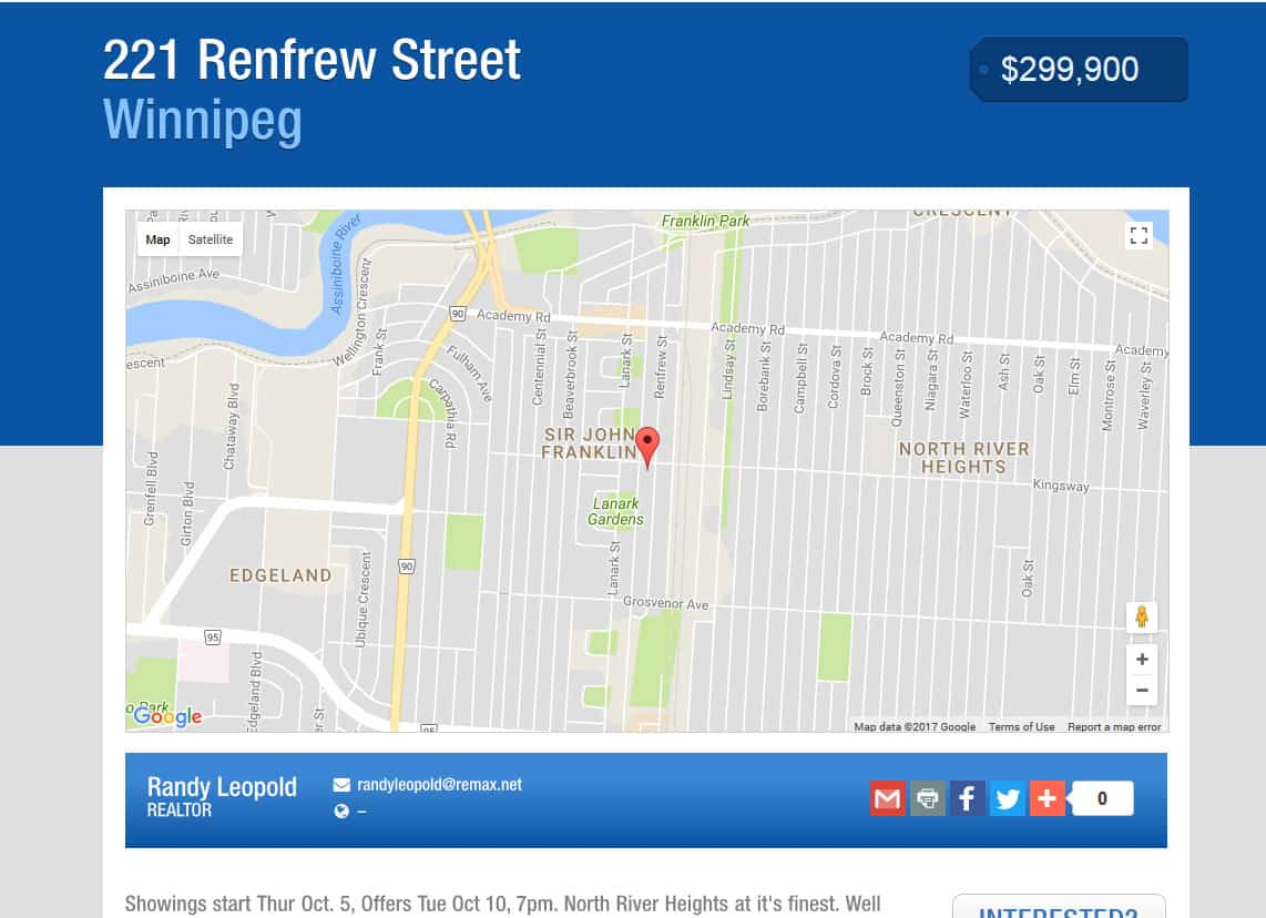 property website template showing map