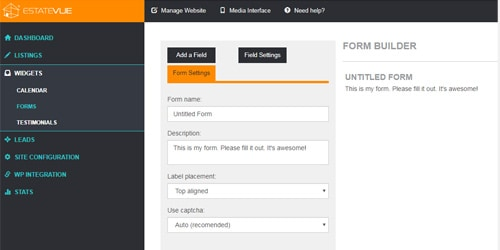custom form builder for realtor websites