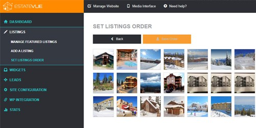 drag and drop photo and listing orders for real estate websites